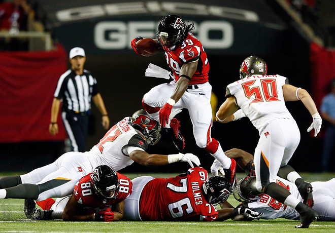In one of the biggest blowouts of the NFL season, the Falcons beat the Bucs 56-14 on Thursday night.