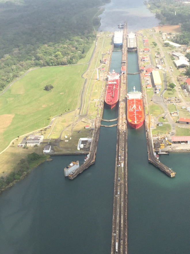 The Panama Canal from the sky.