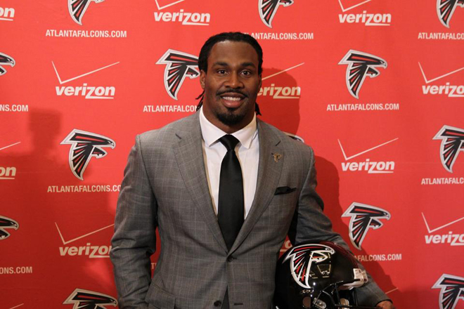 Steven Jackson was introduced as the newest Atlanta Falcon at a press conference on Friday.