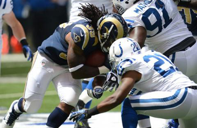 The Rams demonstrated their ground and pound offense by going to S-Jax on the first three plays (Rams Photo).