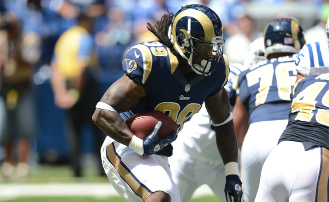 SJ39 carried four times for 17 yards and also had a catch for six yards while playing the first two drives (Rams photo).