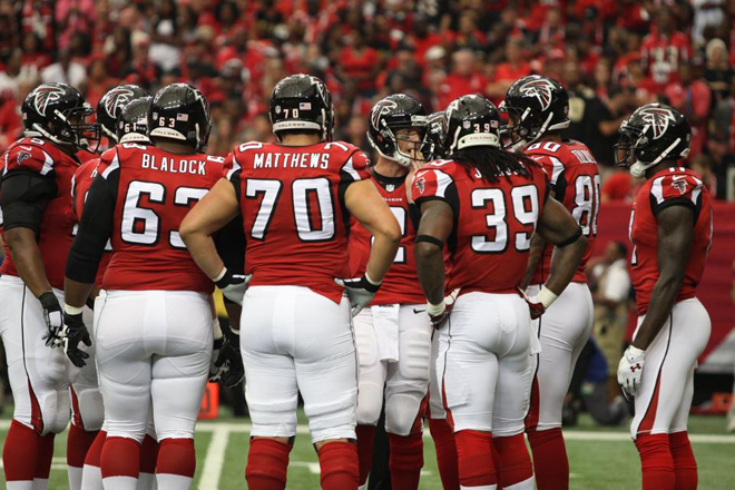 After a rough first quarter Falcons offense produced at an elite level for the rest of the game (Falcons photo).