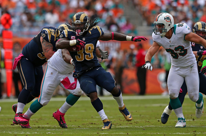 Steven ran 12 times for 52 yards as the Rams utilized their ground game in Miami (Getty Images).