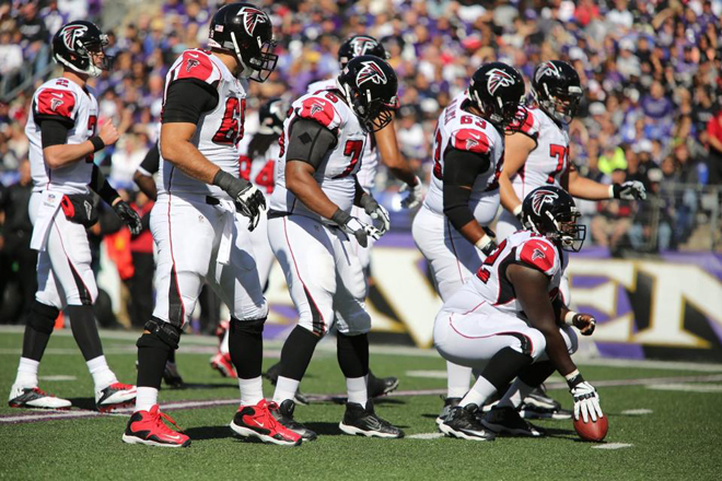After losing another member to injury, the Falcons offensive line struggled mightily on Sunday.