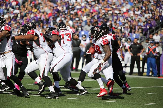 The Ravens bottled up Steven and the Falcons offense all afternoon (Falcons photo).