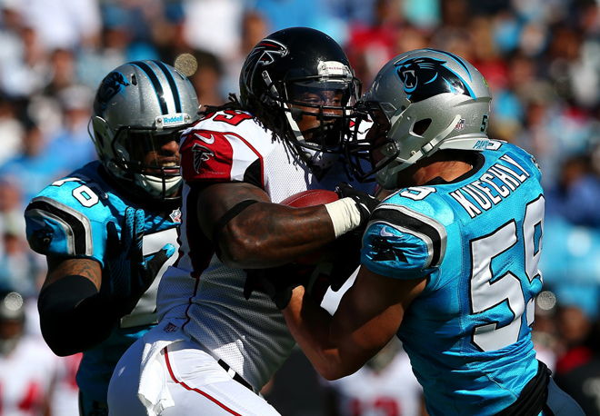 Steven Jackson fights for extra yardage during Sunday's game against the Panthers (Getty Images).