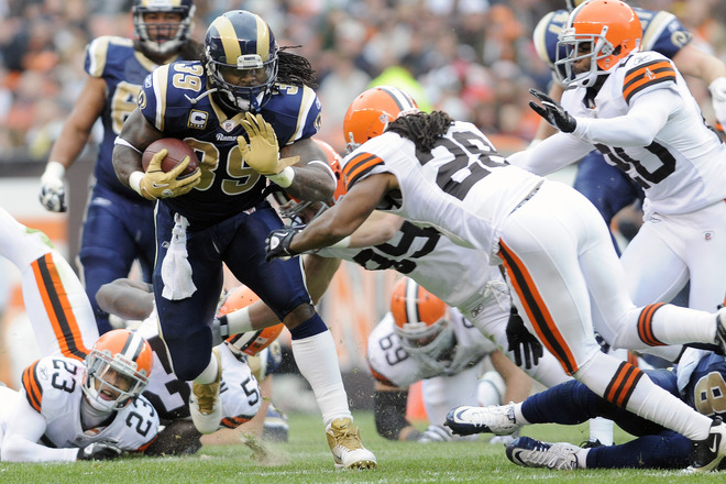 Steven carried 27 times and ground out 128 yards to push the Rams to a 13-12 win over the Browns (Getty Images).