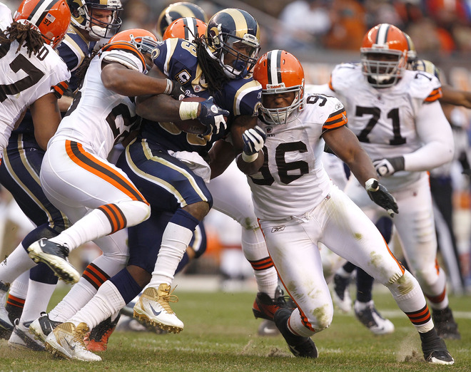 "Sam Bradford called Steven ""a man possessed"" because of his effort. The Browns could attest to that (Getty Images)."