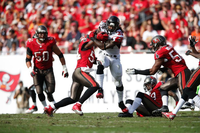 SJ accounted for more than half of Atlanta's offense in the first quarter (Falcons.com Photo).