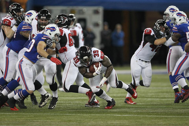 No. 39 carried seven times in the first half and 16 more between the second half and overtime (Falcons.com).
