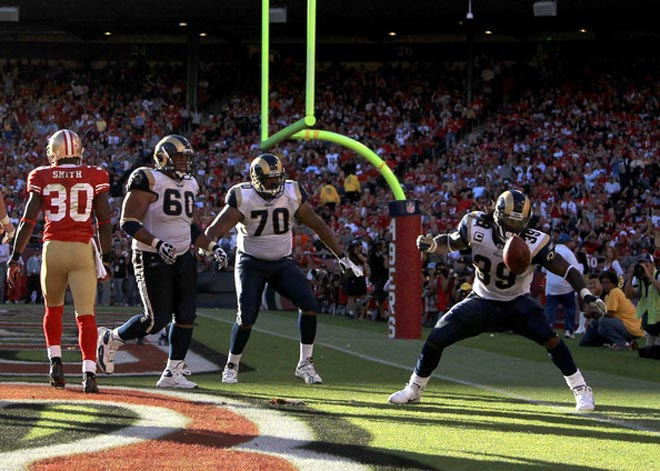 Finding the end zone in San Francisco, as he did last season, will be a tough task for Steven on Sunday (Getty Images).