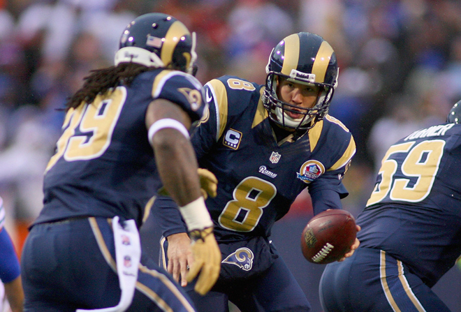 Rams quarterback Sam Bradford came up big and Steven complimented his confidence and poise after the game (Getty Images).