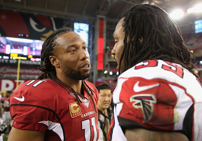 Steven with the Arizona Cardinals' nominee, Larry Fitzgerald.