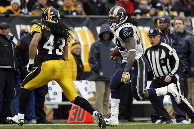 Steven has averaged 94 yards in two meetings with the Steelers, both while with the St. Louis Rams.