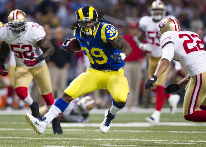 Steven carried five times on the final drive, as the Rams finally beat the Niners on an OT field goal (Getty Images).