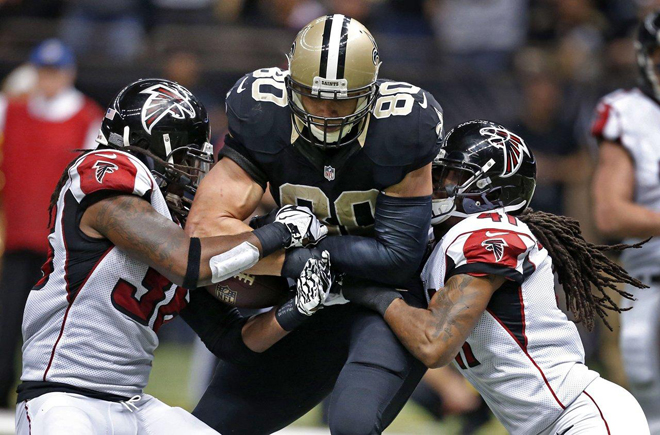 Kemal Ishmael not only denied Jimmy Graham at the goal line, he stripped the ball and recovered the fumble (Atlanta Falcons Photo).
