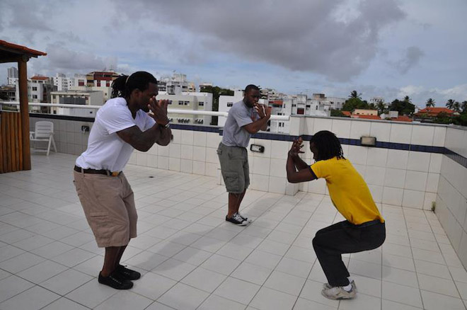 My former teammate Chris Ogbonnaya joined me in Brazil, where we got Capoeira lessons!