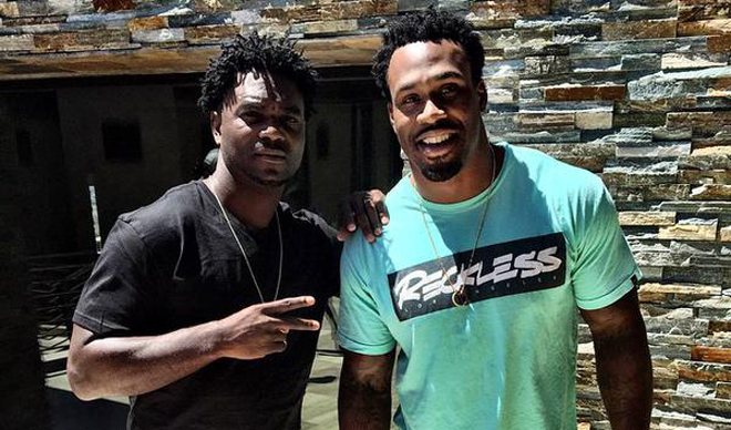 Hanging with Edgerrin James earlier this summer, just two short-haired running backs.