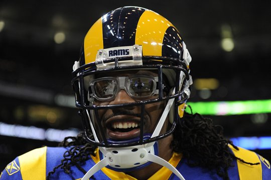 Before breaking the Rams rushing record, Steven donned a pair of goggles in homage to Eric Dickerson the former record holder.