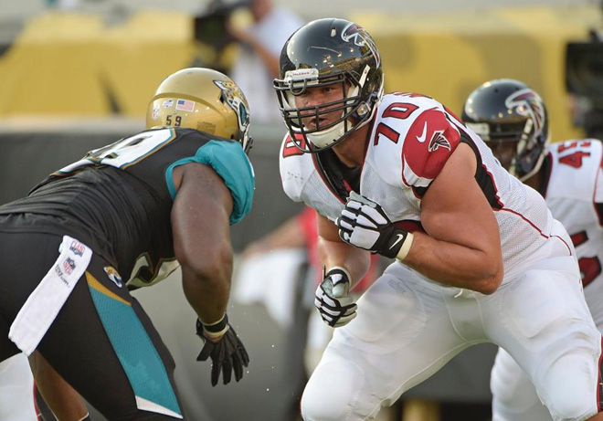 Jake Matthews has stepped up to the challenge in a big way and I expect great things out of him (Atlanta Falcons photo).