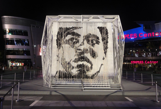 One of Michael Kalish's most famous pieces, the image of Muhammad Ali made entirely of punching bags.
