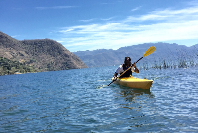 Kayaking on this lake in Guatemala reminded me of my home because it is similar to Lake Tahoe.