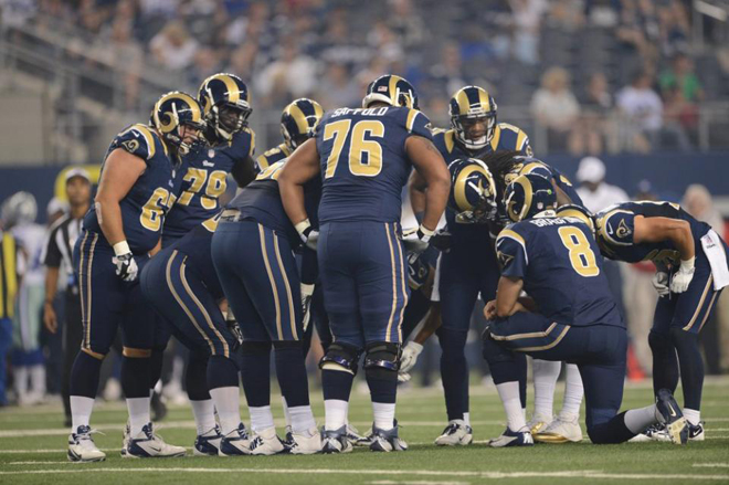 After a few plays in pass protection, Steven gave way to his backups in the Rams' exhibition game with Dallas on Saturday (Rams photo).