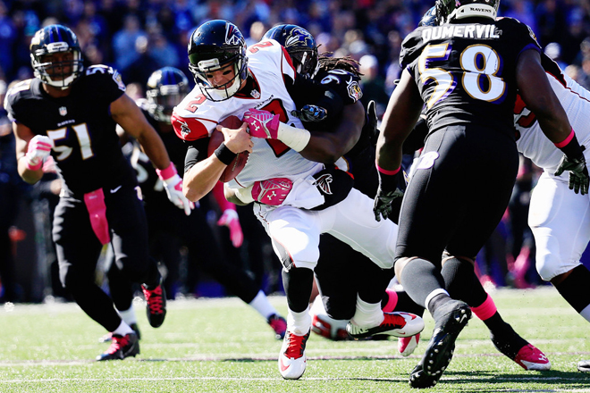 Matt Ryan was sacked five times on Sunday and the lack of protection had the Atlanta offense sputtering (Getty Images).
