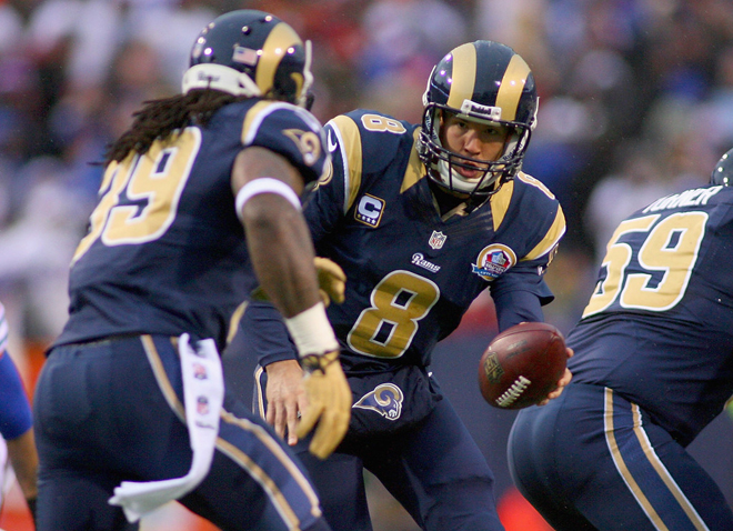 S-Jax sees a bright future for the Rams with quarterback Sam Bradford and Bradford will beg SJ to stay and be a part of it (Getty Images).