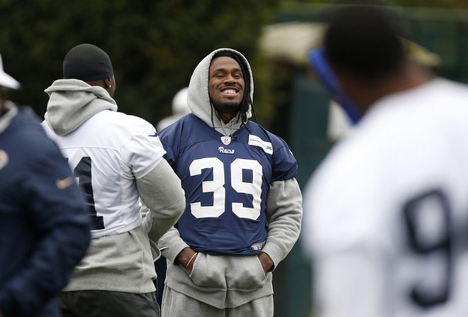 Steven Jackson is all smiles as the Rams prepare to play in London on Sunday (AP Photo)