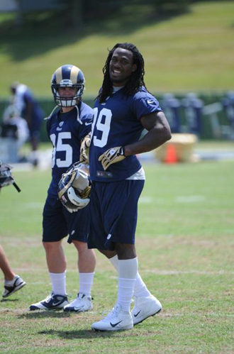 A light moment during camp (St. Louis Rams Photo).