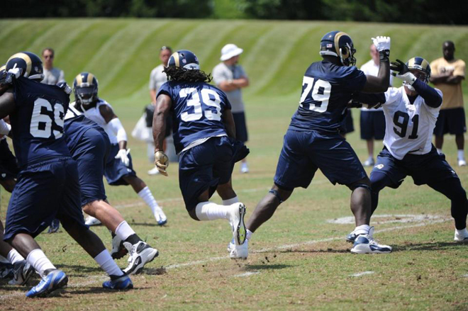 SJ finds a hole in the line and explodes through it during minicamp (St. Louis Rams Photo).
