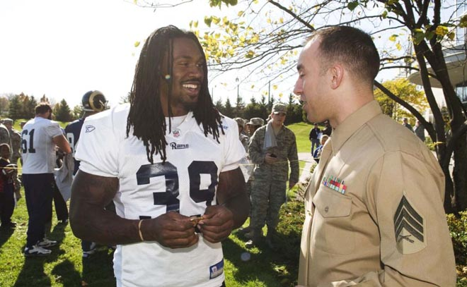 Sergeant Rogers presented Steven with a Marine challenge coin at Friday's practice.