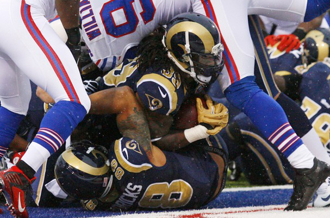 Steven carried across the goal line in Buffalo on Sunday and moved closer to the 10,000-yard mark in the Rams' win.