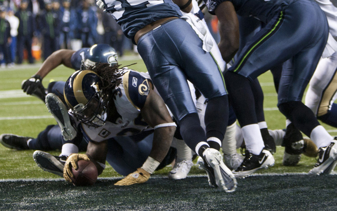 SJ39 will be seeking paydirt and a winning season for his Rams on Sunday afternoon (Getty Images).