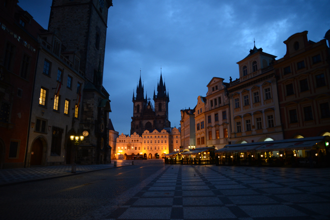 The streets of Prague before sunrise during my visit.