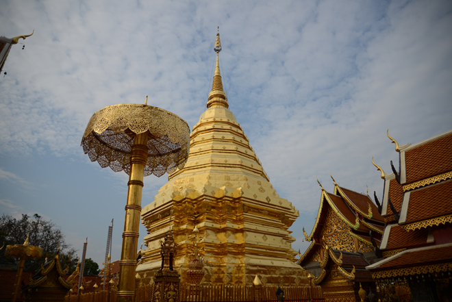 Wat Phrathat Temple and its outstanding gold leaf dome.