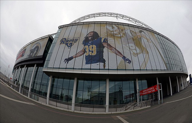A mural at London's Wembley Stadium depicts Steven Jackson to represent the Rams (US Presswire).